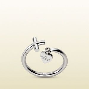 New GUCCI 18K White Gold Cross and Heart Ring Sz 6